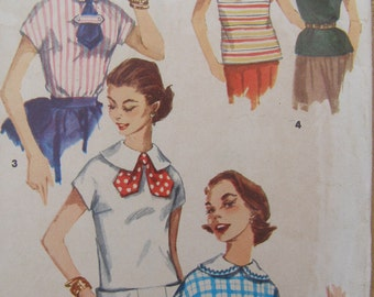 Now on Sale, Menswear Chic, 1955 Simplicity Blouse & Overblouse Sewing Pattern 1283, Size 10, Bust 28