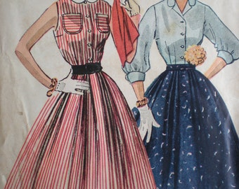 Now on Sale, 1952 Simplicity Blouse and Circle Skirt Sewing Pattern 3857, Size 15, Bust 33