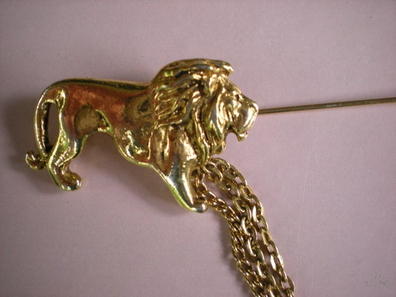 The Lion's Share, Large Designer Signed Chatelaine Pin