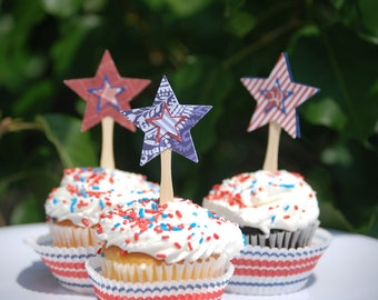 Fourth of July Cupcake Toppers