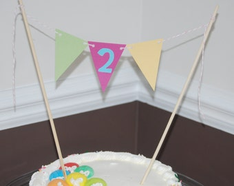 Cake Bunting with Number, Cake Topper with Number
