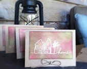 "Home Inspire Dream Escape notecards 4"" x 5 1/2""- set of 4"