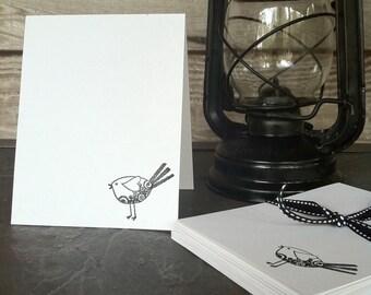 """Simplistic bird notecards 4 1/4"""" x 5 1/2""""- set of 6"""