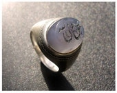 Antique Carved Blue Stone with Silver Band