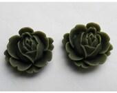 2pc 22mm Rose Rein Cabochon Flower Dark Olive Green