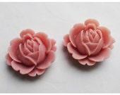 2pc 22mm Rose Rein Cabochon Flower Light Pink