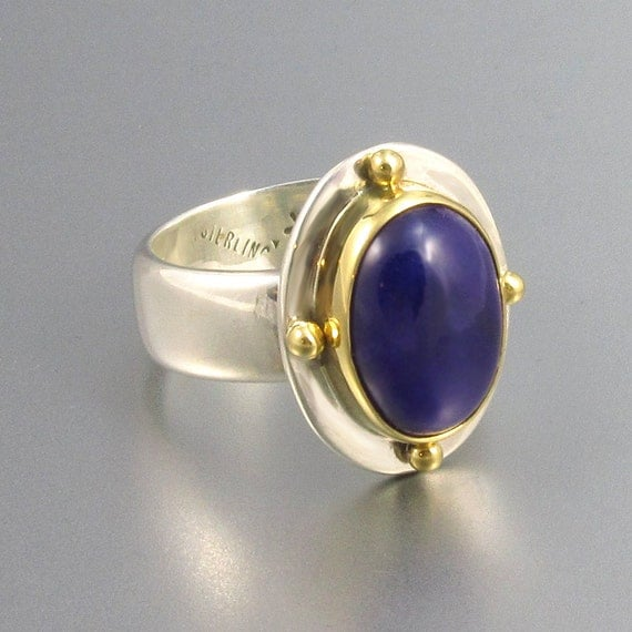 Pmt 3 of 8 gel sugilite ring in 18kt gold and sterling silver