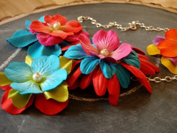 Bright Flower Bib Statement Necklace