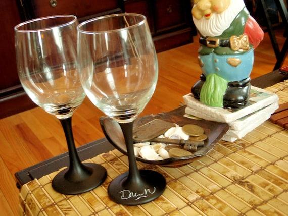 Set of Two Black Chalkboard Wine Glasses