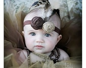 Indian Princess Feather Rolled  Duponi Silk Black  Rosette Feather Headband Photography Prop