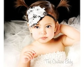 Black and White Old Glamour Couture Chic Feather Pad Accent with Rhinestones Headband Photography Prop