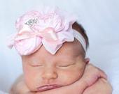Pink Vintage Shabby Chic Duponi Silk Rolled Rosette Rhinestone Headband Photography Prop