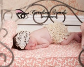 Ivory Beige and Brown Shabby Chic Feather Pad Accent with Pearl and Rhinestones Headband Photography Prop