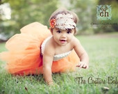Ivory Beige and Tan Shabby Chic Feather Pad Accent with Orange soft flower and Rhinestones Headband Photography Prop