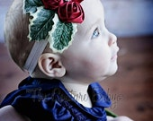Red and Green HOLLY BERRY and Leaves  Rhinestone Christmas Headband Preemie Newborn Infant Toddler Child Adult Headband