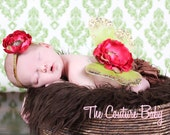 SEQUIN DIVA Lime Green Gold and Hot Pink Sequin Vintage Butterfly Wings Beautiful Photo Prop First Newborn Photos