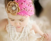 VINTAGE PRINCESS  Pink and Tan Rose Headband accented with Vintage Rhinestone Cluster great Photo Prop
