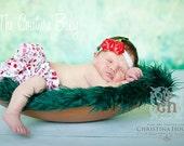 LITTLE MISS CHERRY Satin Ruffle Bloomers & Headband Set