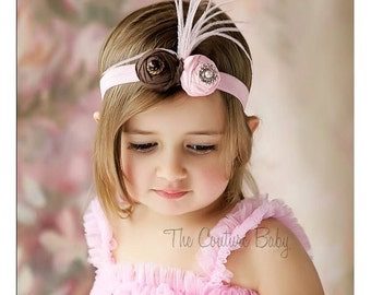 Pink and Brown Duponi Silk Featherand Crystal Headband Preemie Newborn Infant Toddler Big Girl Rosette HeadbandPhoto Prop