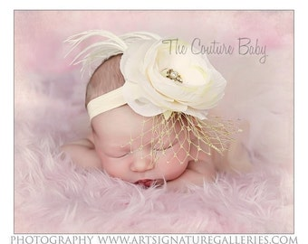 Ivory Beige Off White Soft Flower Ostrich Feather and Rhinestones Headband Photography Prop Baptism or Christening Headband