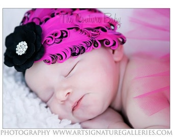 Hot Pink and Black Feather Pad Flower & Crysta Headband Newborn Infant Toddler Big Girl Feather Headband Photography Prop