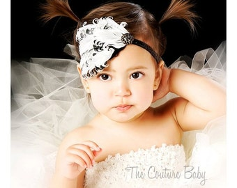 Black and White Curly Feather Pad Black Crystal Glitter Newborn Infant Toddler Big Girl Headband  Black & White Headband Photo Prop