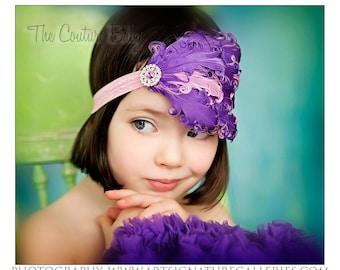Purple and Pink Curly Feather Pad with Rhinestone Headband Newborn Infant Toddler Big Girl Purple Headband