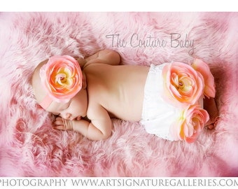Peach Shabby Flower Accent Bloomers and Headband 2 Pc. Set Newborn Infant Toddler Peach Headbandfirst photos photography Prop
