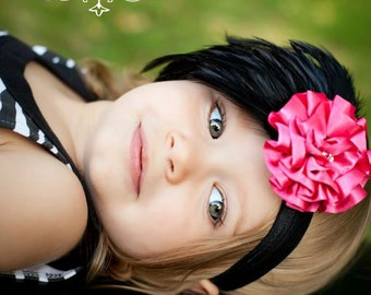 Hot Pink and Black Feather Pad  Rhinestones Ruffled Flower Headband Newborn Infant Toddler Big Girl Feather Flower Headband Photography Prop