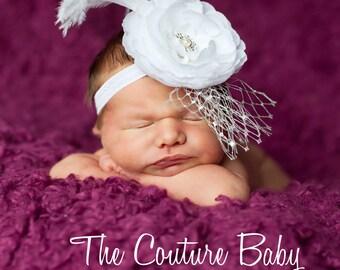 White Flower Ostrich Feather French Netting Rhinestones Christening or Baptism Headband Newborn Infant Toddler Big Girl Headband Photo Prop