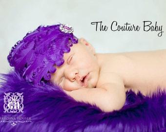 Purple Grape Curly Feather Pad with Purple Rhinestone Embellishment  Newborn Infant Toddler Big Girl Headband Photo Prop