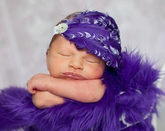 Purple and White Rhinestone Accent Shabby Chic Feather Pad Headband Preemie Infant Toddler Big Girl Headband