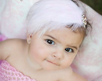 Pink Feather Pad with Pink Vintage Rhinestone Jewel photography prop Newborn Infant Toddler