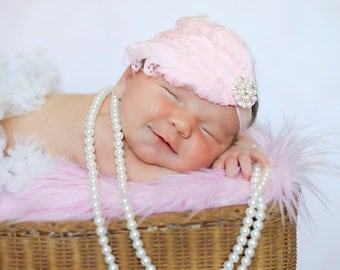 Pink Curly Feather Pad Headband with PEARL CRYSTALS Newborn Infant Toddler Big Girl Pink Feather Headband Photo Prop