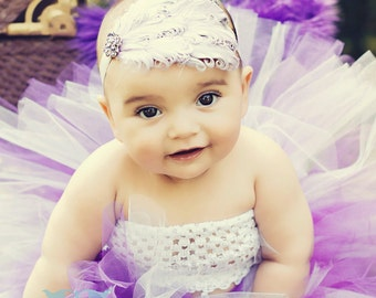 Purple and Lavender Birthday Barney Color Tutu and Purple & Lavender Feather Headband Newborn Infant Toddler Big Girl Lavender Headband