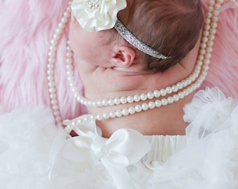 Creamy White  Petti Skirt and Ruffle Flower and Crystal Headband Set Photography Prop