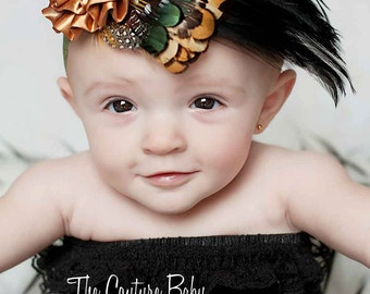 Gorgeous Fall Brown Whimsy Feather Pad with Satinflower embellishment photography prop Newborn Infant Toddler