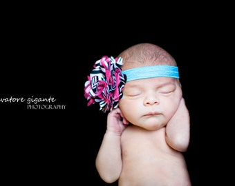 RAINBOW ZEBRA Hot pink and teal Satin and Tulle Poof Headband
