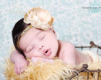 GOLD VINTAGE Shabby Chic Elegant Flower Headband Accented w French Veiling Netting