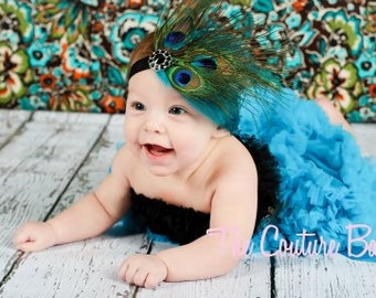 PEACOCK Eye Cluster and TEAL Feather Headband accented with Vintage Rhinestone Newborn Infant Toddler Big Girl Peacock Headband Photo Prop