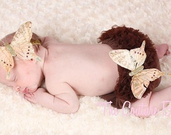 GOLD & BROWN Butterfly and Lace Bloomer Set and Butterfly Newborn or Infant Headband 2 Pc Set