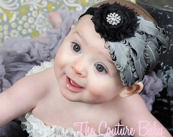 Silver Gray Black Curly Feather Pad Newborn Infant Toddler Big Girl Feather Headband  Photography Prop