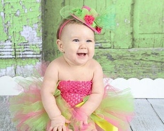 Hot Pink and Lime Green Couture NewBorn Infant Toddler Big Girl Tutu Photography Prop