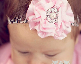 PINK LEOPARD Couture Satin Poof with Vintage Rhinestones Headband Preemie Infant Toddler Big Girl HedbandPhotography Prop