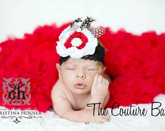 Red & Ivory Flower Netting Pearls Black Lace Headband Newborn Infant Toddler Big Girl Ranunculus Headband