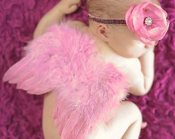 Dusty Rose Angel Feather Princess Butterfly Fairy WINGS  & Headband Set Preemie Newborn Infant