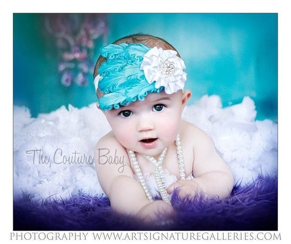 Teal Curly Feather Pad White Ruffle Flower and Crystal Newborn Infant Toddler Big Headband Girls Photo Prop Headband