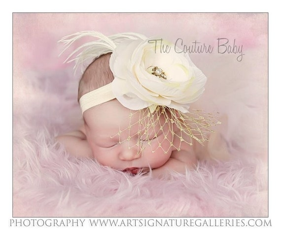 Ivory Beige Off White Antiqued Shabby Chic Soft Flower Ostrich Feather and Rhinestones Headband Photography Prop