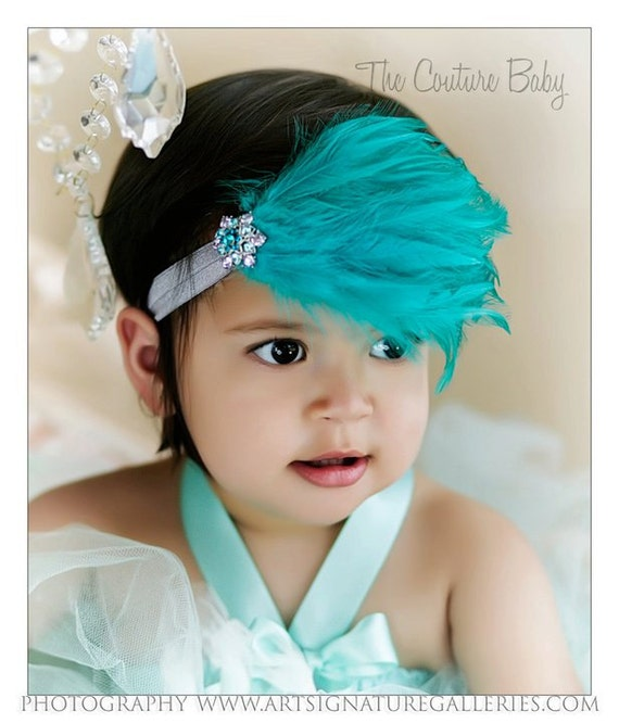 Teal Turquoise Feather Pad  and Teal Crystal Newborn Infant Toddler Big Girl Adult Headband