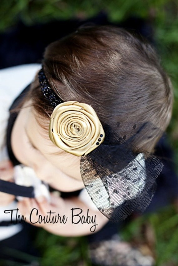 Vintage Gold Rolled Satin Flower accented with netting and rhinestones Newborn Infant Toddler Big Girl HeadbandPhotography Prop